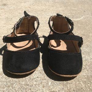 Black Double Strap Faux Suede Baby Shoes Sz 4